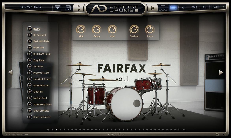 Addictive Drums 2 - Kit Main View (Fairfax Vol. 1 AdPak)