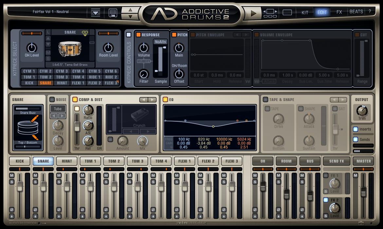 Addictive Drums 2 - Kit Piece Edit View
