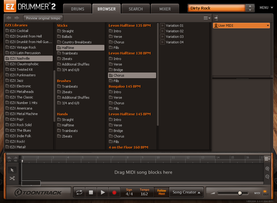 EZdrummer 2 - EZX expansions in browser view