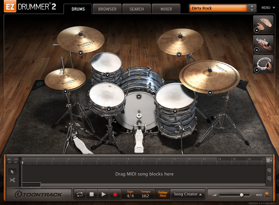 EZdrummer 2 - main interface view 2