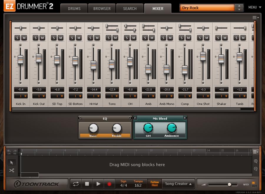 EZdrummer 2 - mixer view