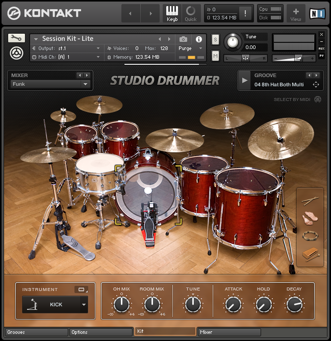 Studio Drummer - Drum Kit View