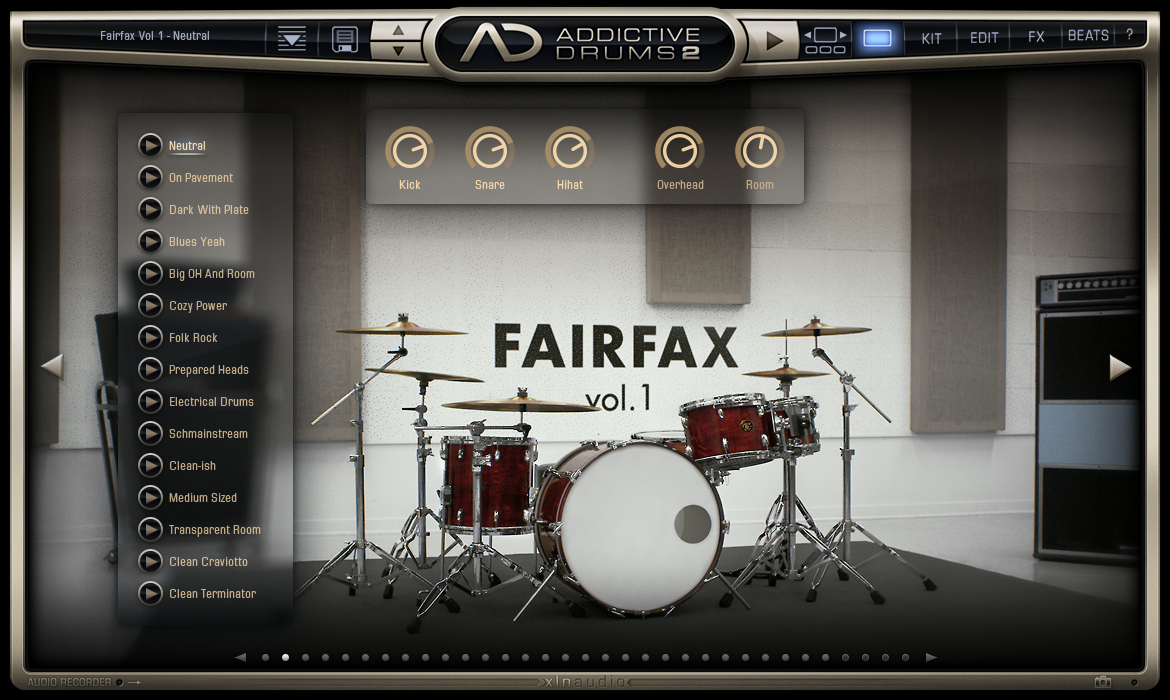 Addictive Drums 2 - Kit Main View (Fairfax Vol. 1 AdPak)