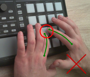 One finger on one pad